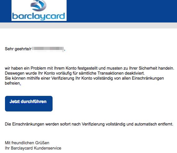 2018-01-30 Barclaycard spam Barclaycard- Konto Problem festgestellt