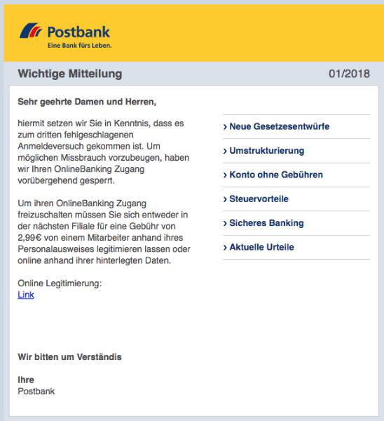 2018-01-30 Postbank Spam Phishing fehlgeschlagener Anmeldeversuch