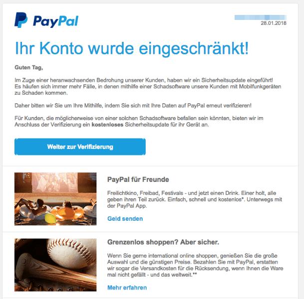 2018-02-02 PayPal Spam Mail Verifizierung Ihres Kundenkontos