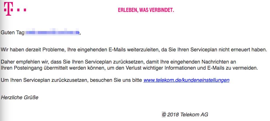 2018-02-15 Telekom Phishing Spam Beheben Sie Ihre E-Mail-Einstellungen