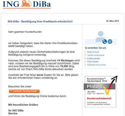 2018-03-24 Ing-DiBa Phishing aktuell Spam Mail Wichtige informationen zu Ihrem konto