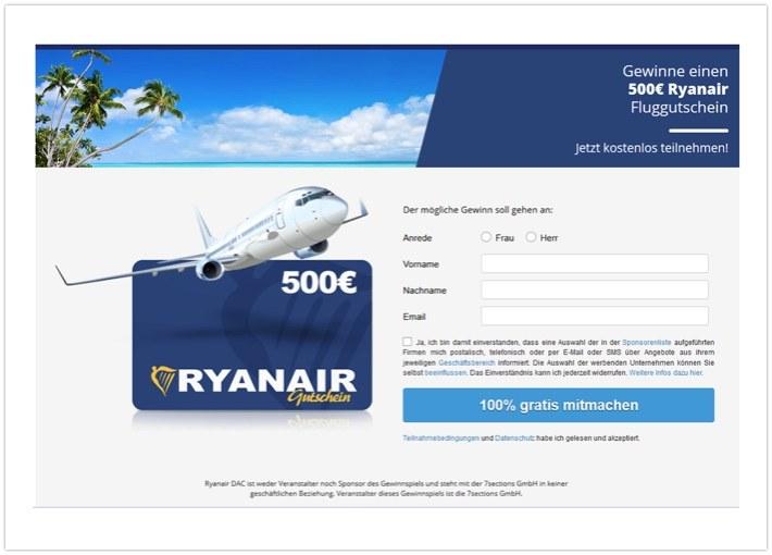 Ryanair Gewinnspiel
