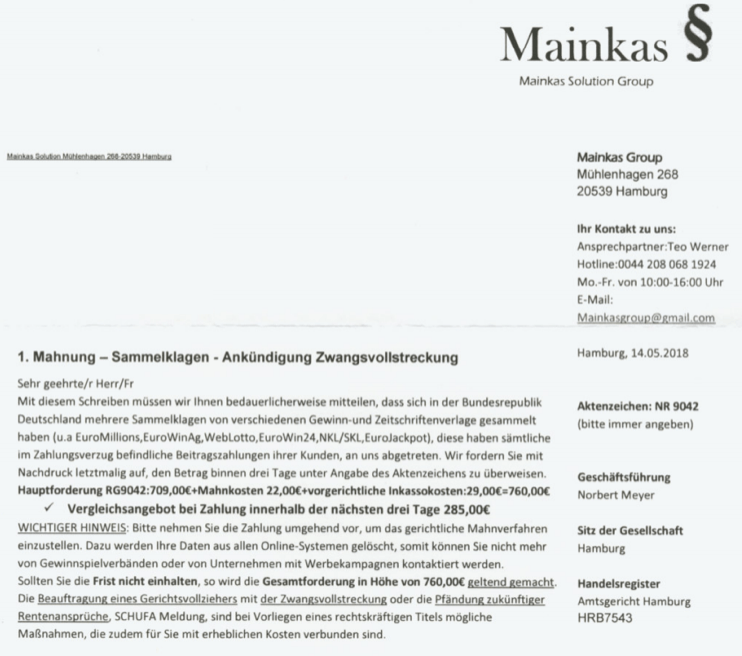 2018-05-17 Mahnung Mainkas Solution Group