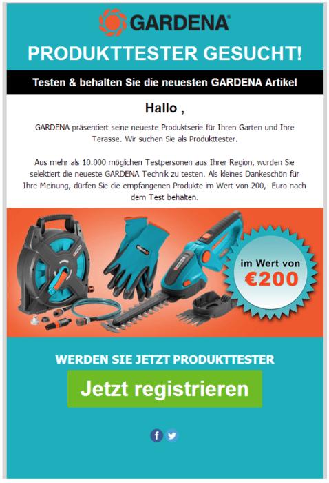 2018-08-21 Werbung Gardena Tester gesucht Datensammler