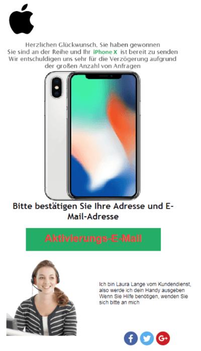 2018-09-27 Fake-Mail Spam Gewinn iPhone X