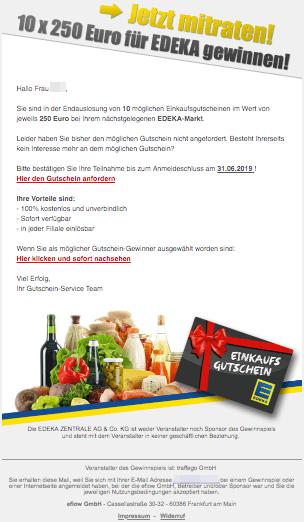 2019-06-14 Edeka Spam-Mail EDEKA Einkaufs-Gutschein
