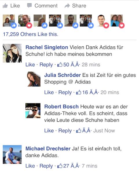Adidas Kettenbrief WhatsApp kostenlose Schuhe Kommentare