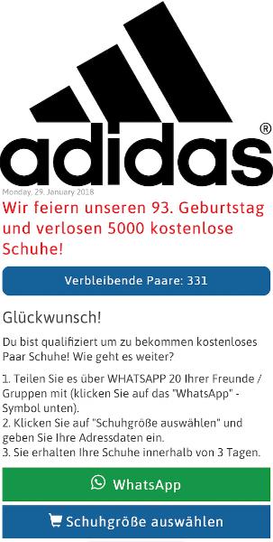 WhatsApp Kettenbrief: verschenkt Adidas 1.0003.000 Schuhe