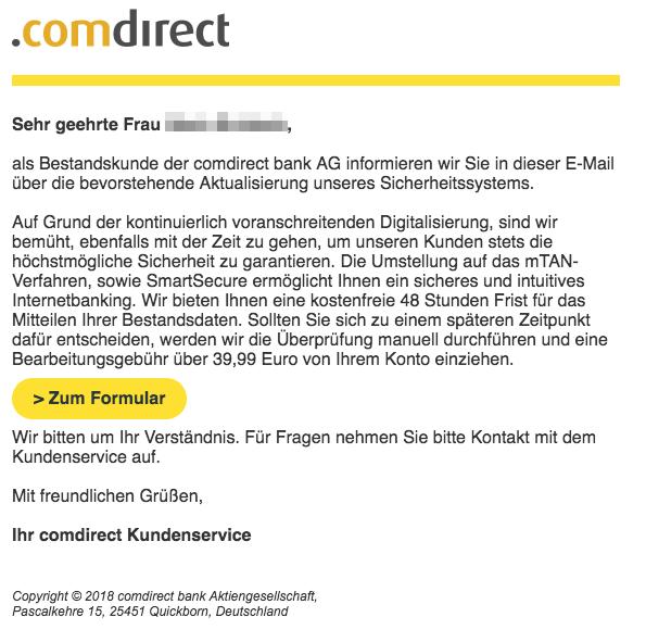 Comdirect Phishing Mail Umstellung auf das mTan-Verfahren