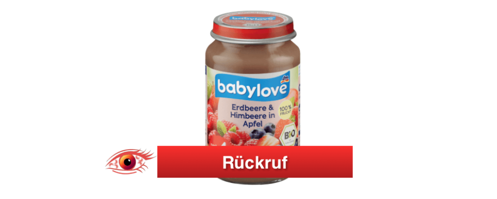 dm-drogerie markt: Rückruf von babylove Erdbeere & Himbeere in Apfel