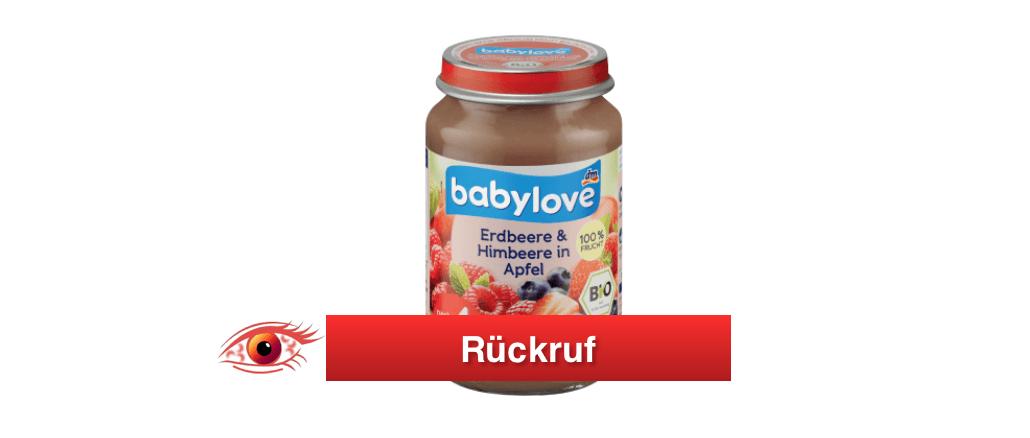 Rückruf babylove Erdbeere und Himbeere in Apfel