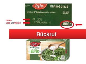 Rückruf iglo Rahmspinat mit Blubb