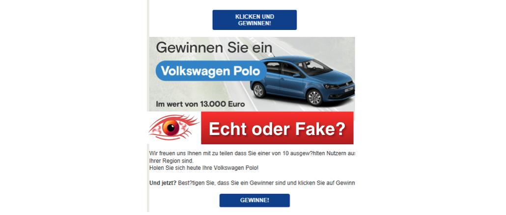 Spam-Mail VW Polo Gewinnspiel