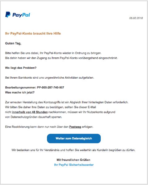 2018-02-06 PayPal Spam Phishing PayPal-Konto eingeschraenkt