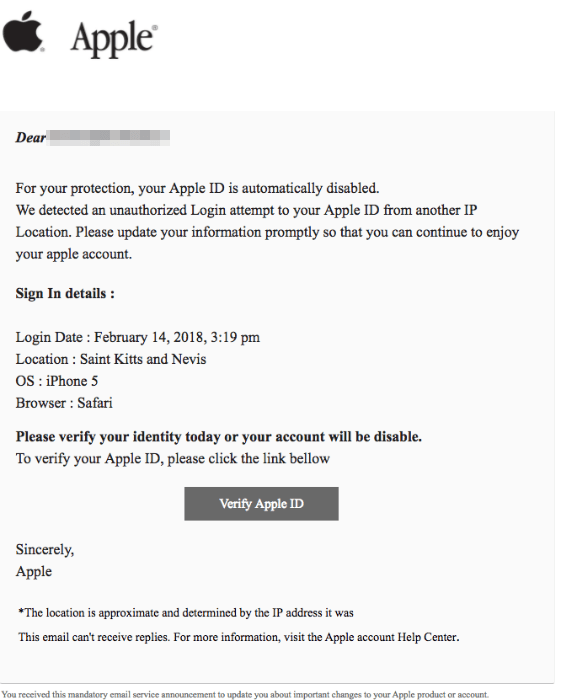 2018-02-15 Apple Phishing Spam Mail Your Apple ID password has been reset