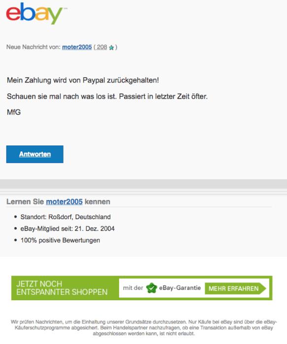 2018-02-16 ebay Spam Phishing Mail moter2005 hat eine Nachricht zu Artikelnummer 162771122091 gesendet