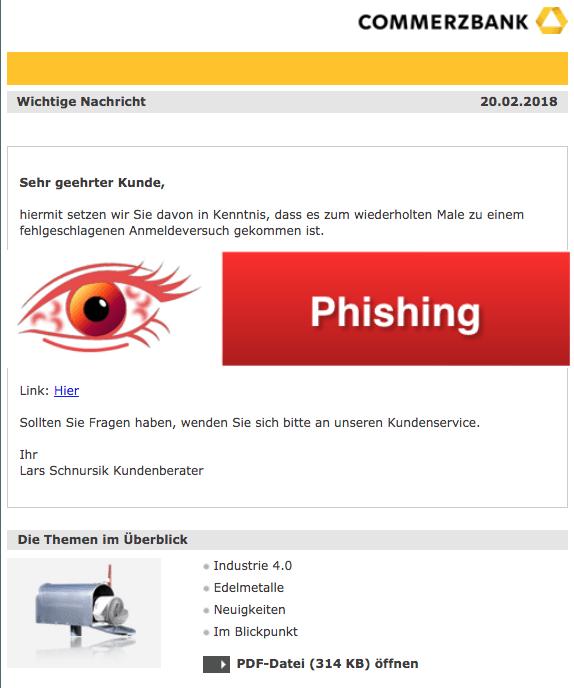 2018-02-20 Commerzbank Phishing Mail Teilnehmernummer geperrt - Mehrfache Fehleingabe