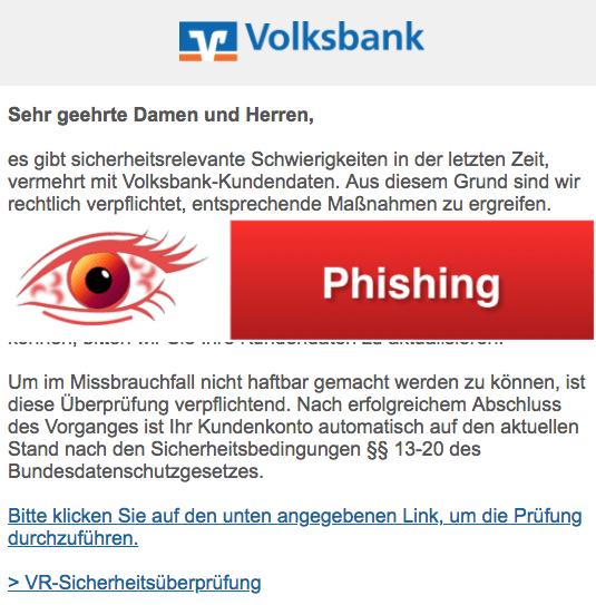 2018-02-20 Volksbank Phishing Notruf Karte und Online-Banking werden Eingeschränkt