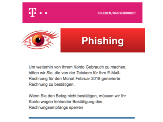 2018-02-22 Phishing Spam im Namen der Telekom