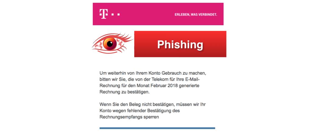 2018-02-22 Phishing Spam im Namen der Telekom