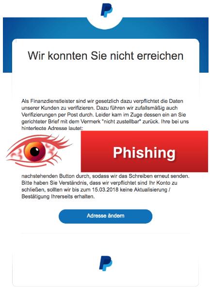 2018-02-23 PayPal Spam Phishing Wir konnten Sie nicht erreichen