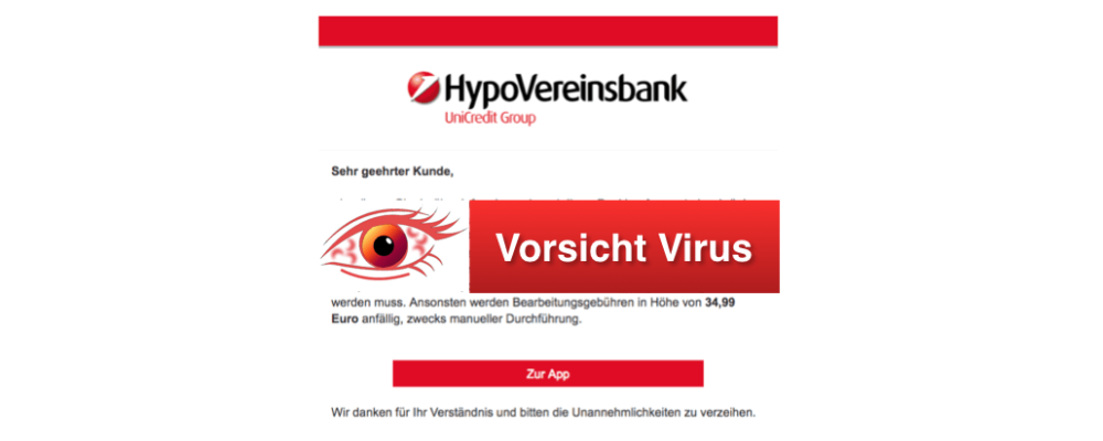 """HypoVereinsbank Phishing: Gefälschte E-Mail """"Bitte synchronisieren Sie Ihre Telefonnummer mit dem Konto."""" ist Spam"""