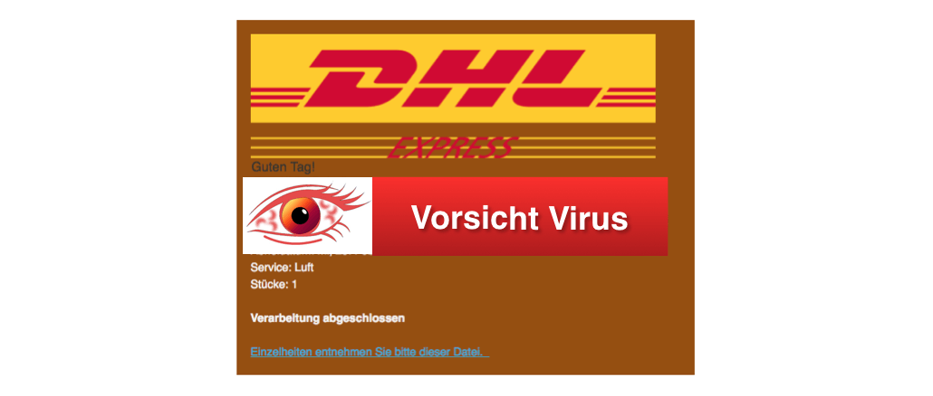 vorsicht virus dhl mail informationen zum empfang eines pakets. Black Bedroom Furniture Sets. Home Design Ideas