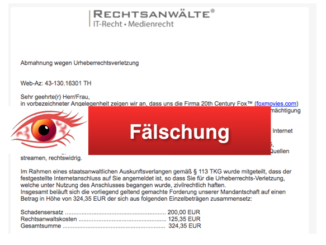 2018-02-28 Fake-Abmahnung wegen Urheberrechtsverletzung Rechtsanwalt Sebastian Dramburg