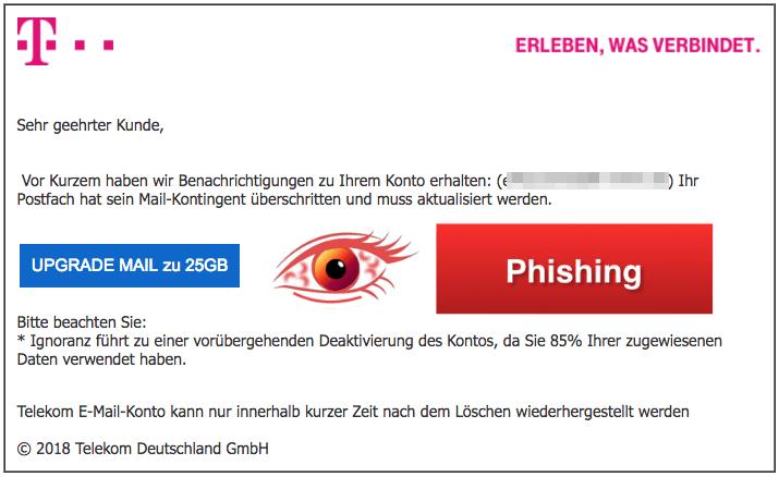 2018-02-28 Telekom Phishing-Mail E-Mail-Deaktivierungshinweis