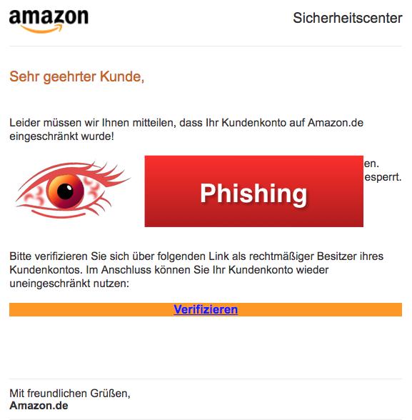 2018-03-01 Amazon Spam aktuell Ihr Kundenkonto auf Amazon-de wurde eingeschränkt