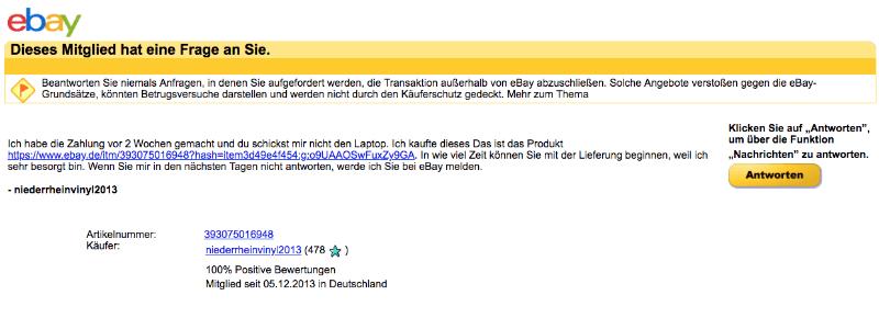 2018-03-01 ebay Spam-Mail Anfrage eines Nutzers