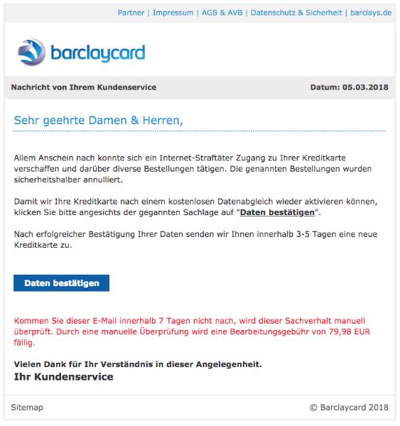 2018-03-05 Barclaycard Spam Mail Ihre Kreditkarte wurde gesperrt