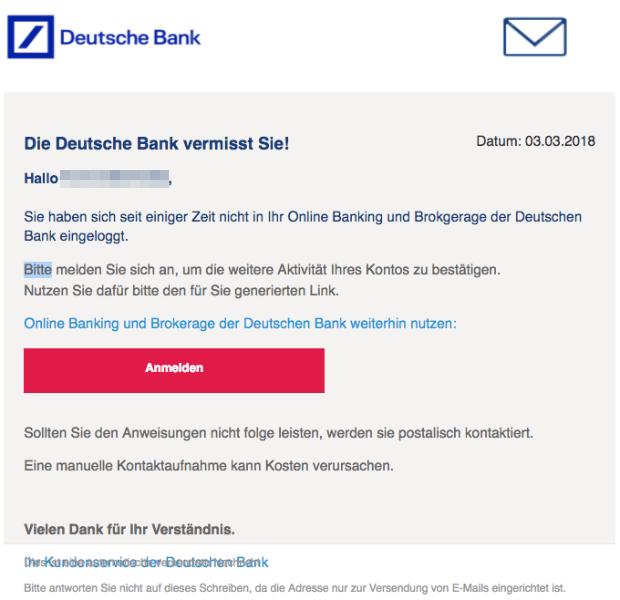 2018-03-05 Deutsche Bank Spam Mail Bitte reaktivieren Sie Ihr Online-Banking