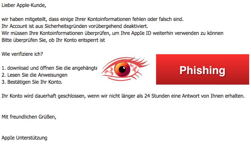 2018-03-16 Apple Phishing Spam Mail Ihre Kontoinformationen wurden geaendert