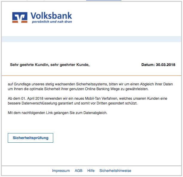 2018-04-03 Volksbank Spam Mail Sicherheitspruefung