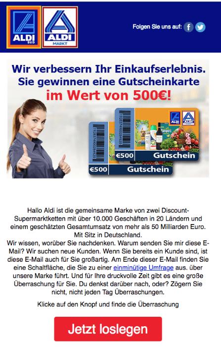 2018-04-30 Spam im Namen von Adi 500 Euro Gutschein