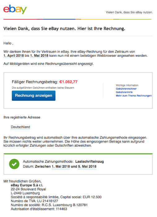 spam mail ihre ebay rechnung fur juli ist ab jetzt. Black Bedroom Furniture Sets. Home Design Ideas
