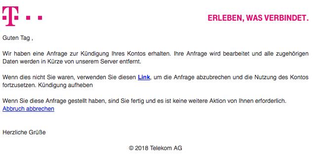 2018 05 29 telekom spam mail kndigung des kontos - Kundigung Telekom Muster