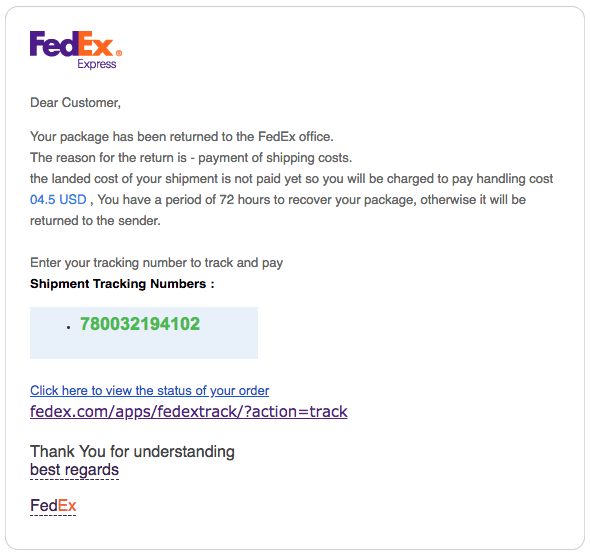 2018-05-31 FeEx Spam Mail Track Your Shipment