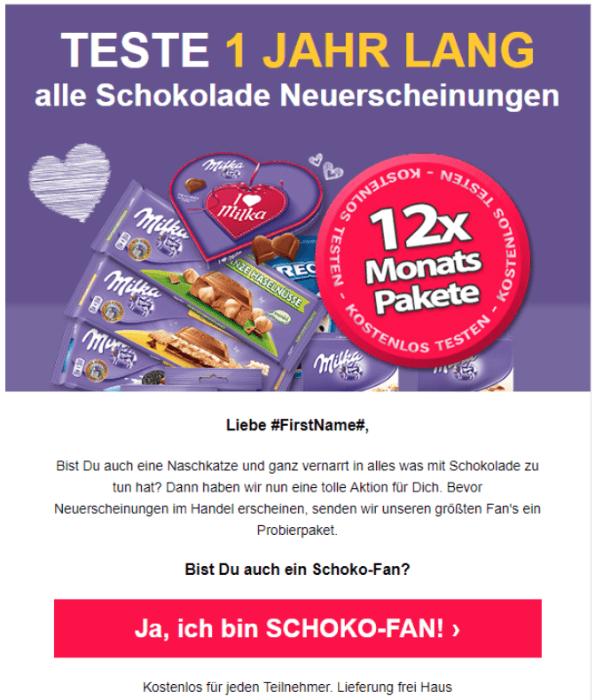 2018-09-13 Milka Probierpaket TESTE 1 JAHR LANG alle Schokolade Neuerscheinungen