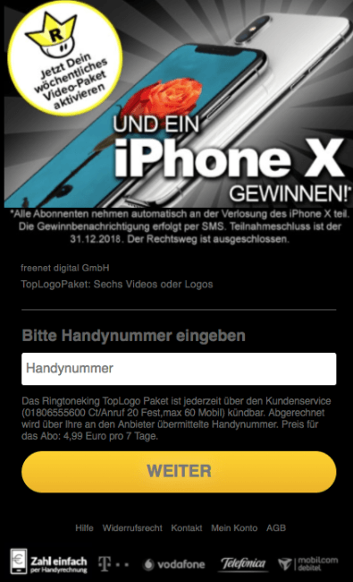 Apple iPhone X Abofalle nach Tester Fake Mail