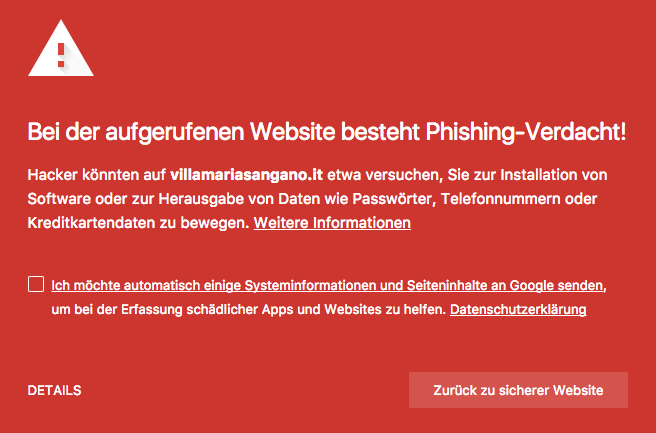 Google Chrome Warnung Aufruf Netflix Phishing