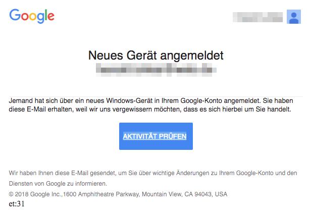 Google E-Mail Sicherheitswarnung Neues Gerät angemeldet