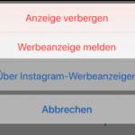 Instagram Beitrag Anzeige melden 2