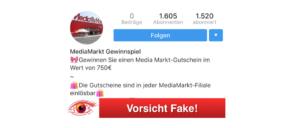 Instagram Fake-Gewinnspiel Media Markt 2018