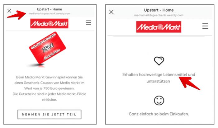 Instagram Fake-Gewinnspiel Media Markt