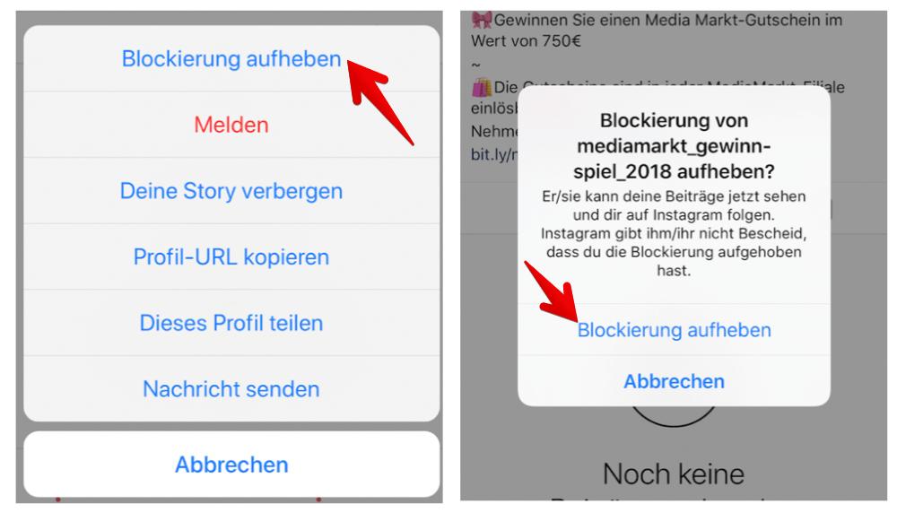 Möglich nicht instagram aufheben blockierung Instagram Nachricht