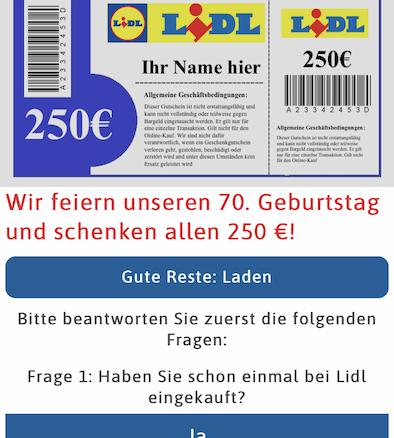 Lidl 250 Euro Gutschein