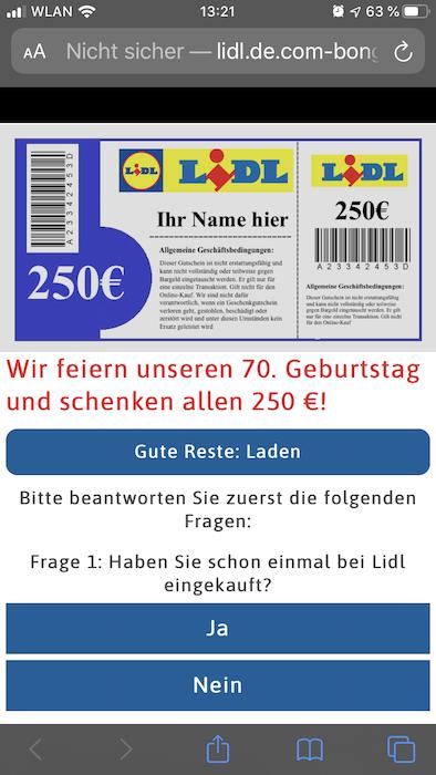 Lidl Gutschein 250 Euro Whatsapp