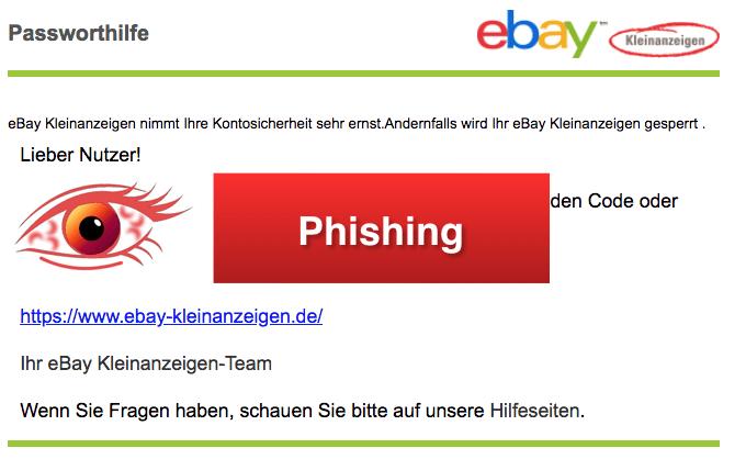 ebay kleinanzeigen Phishing Kleinanzeigen nimmt Ihre Kontosicherheit sehr ernst